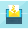 Laptop with envelope money vector image