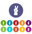 Hand with victory sign set icons vector image