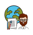 teacher with school tools and global planet vector image