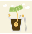 Investment Concept Watering money vector image