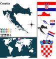 Croatia map world vector image vector image