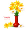 daffodil vase background vector image