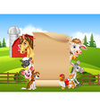 Cartoon farm animals with blank sign vector image vector image