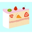 fruit cake with cherry and strawberry vector image