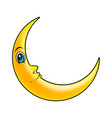 cartoon crescent moon with eyes symbol icon vector image