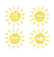four logo in the shape of a sun with a handwritten vector image