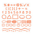 Marker hand written doodle numbers and symbols vector image