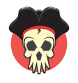 Pirate skull logo vector image