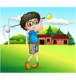 A little boy playing golf vector image