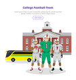 colleage football team high school on background vector image vector image