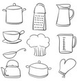 doodle of kitchen various equipment vector image