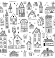 black houses seamless pattern vector image vector image