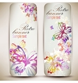 Set of vintage banners with butterfly background vector image vector image