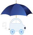 Blue car under umbrella vector image vector image