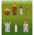 Castles and fortresses icons vector image