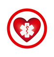 circular frame with heart health symbol with star vector image
