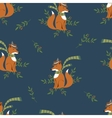 Funny foxy with scarf and hat pattern vector image
