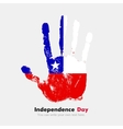 Handprint with the Flag of Chile in grunge style vector image