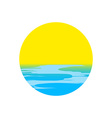 icon sunset and sea waves vector image