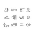line icons set of hunting fishing camping vector image
