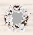 magnolia floral wreath frame card place vector image