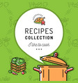 recipe book cookbook cover menu boiling pot vector image