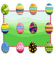 Set of easter eggs on background3 vector image
