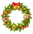Fir Wreath with Golden Bells vector image