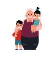 family portrait grandfather grandpa standing vector image