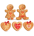 Gingerbread love vector image vector image