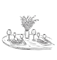 Romantic dinner with wine Valentines Day vector image
