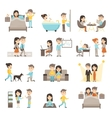 Daily Routine People Set vector image