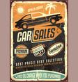 car sales vintage sign design vector image