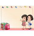 Line paper with girls and books vector image
