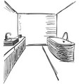 linear sketch of an interior part of the bathroom vector image