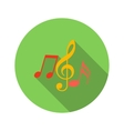 Music key and notes flat icon vector image