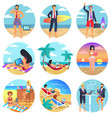 people work on summertime round set vector image