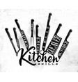 meat cutting knifes poster chalk vector image vector image