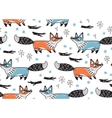 Cute seamless pattern with fox vector image
