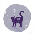 cat silhouette night vector image