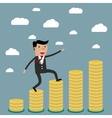 businessman step on stack of coin vector image
