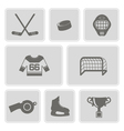 monochrome set with hockey icons vector image