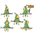 Set of cute green parrots for you design vector image