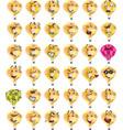 set of yellow hot air balloon character emojis vector image