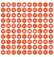 100 business group icons hexagon orange vector image