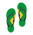 flip flops in brazil flag colors icon isolated vector image