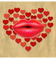 Red Lips With Hearts And Paper vector image
