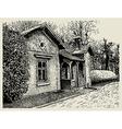 hand drawing sketchy artistic village landscape vector image