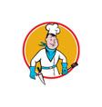 Chef Cook Holding Spatula Knife Circle Cartoon vector image vector image