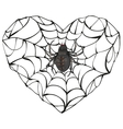 Spider wove web of heart shape Heart symbol of vector image